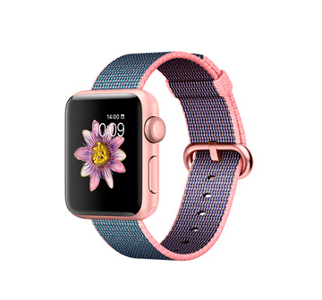 Apple Watch 2 38mm Rose Gold Aluminum Case with Light Pink/Midnight Blue Woven Nylon