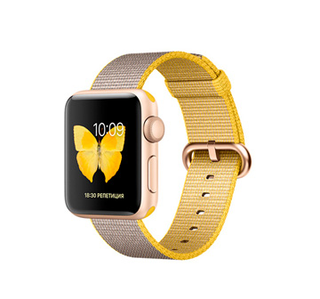 Apple Watch 2 38mm Stainless Steel Case with Milanese LoopGold Aluminum Case with Yellow/Light Gray Woven Nylon