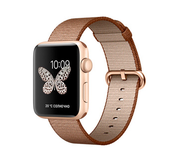 Apple Watch 2 42mm Gold Aluminum Case with Toasted Coffee/Caramel Woven Nylon