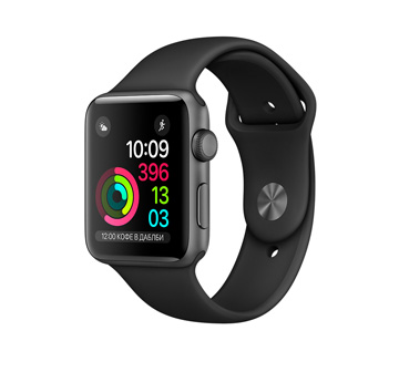 Apple Watch 2 38mm Space Gray Aluminum Case with Black Sport Band