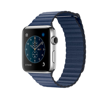 Apple Watch 2 42mm Stainless Steel Case with Midnight Blue Leather Loop