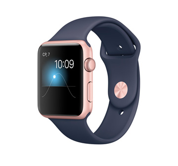 Apple Watch 2 42mm Rose Gold Aluminum Case with Midnight Blue Sport Band