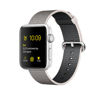 Apple Watch 2 38mm Silver Aluminum Case with Pearl Woven Nylon