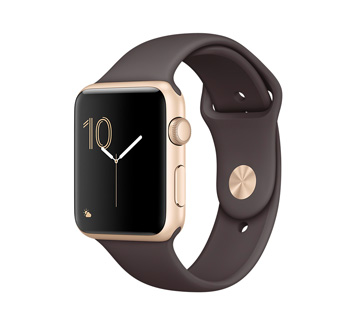Apple Watch 2 42mm Gold Aluminum Case with Cocoa Sport Band